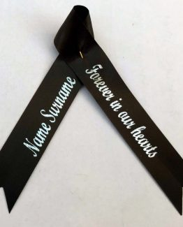 personalised funeral ribbon