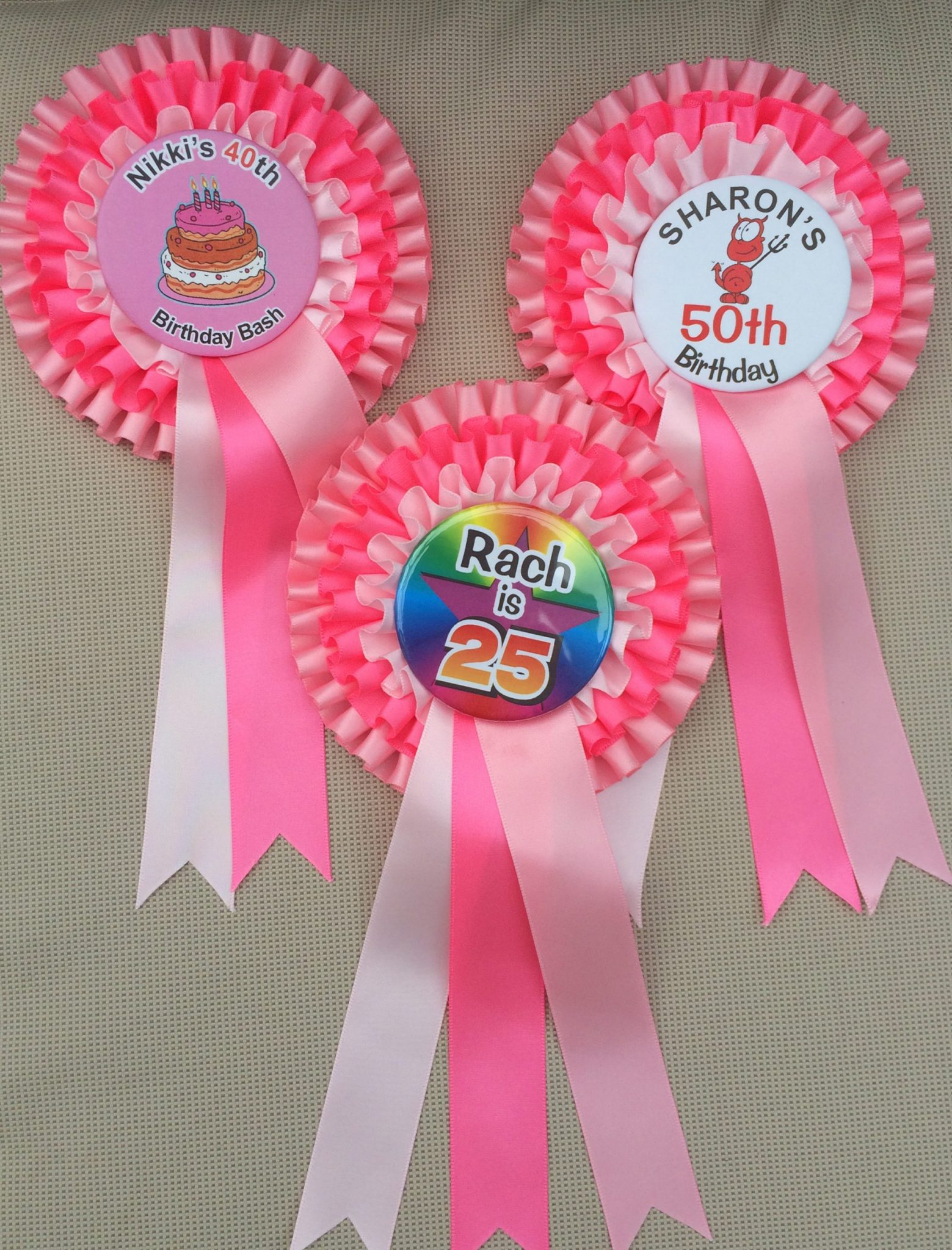 Special Offer on PERSONALISED BIRTHDAY Triple Rosettes