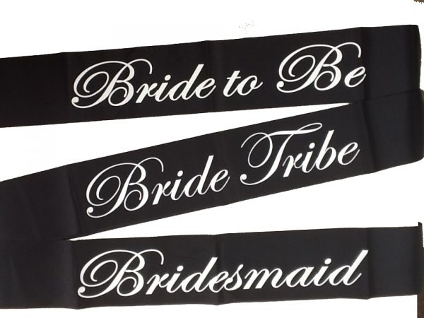 Bride Sash - Black and White