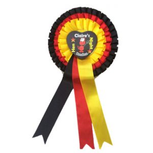 Personalised Rosettes with Heart shaped centres for your Hen Party Celebration